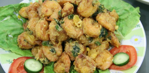 Deep Fried Prawns With Salted Egg